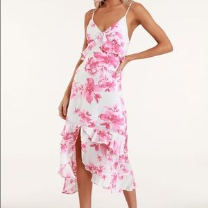 LuLus Island Time Pink Floral Ruffled Midi Dress